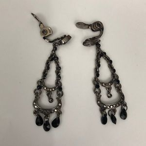 VinageMonet black and silver tone Clip Earrings.